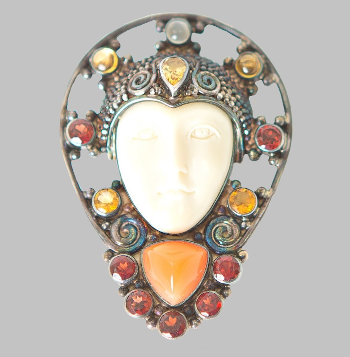 Sterling Silver Vintage Brooch Pendant from the Goddess Series. Bone, citrine, aquamarine, carnelian, pomegranate. 5.2 cm