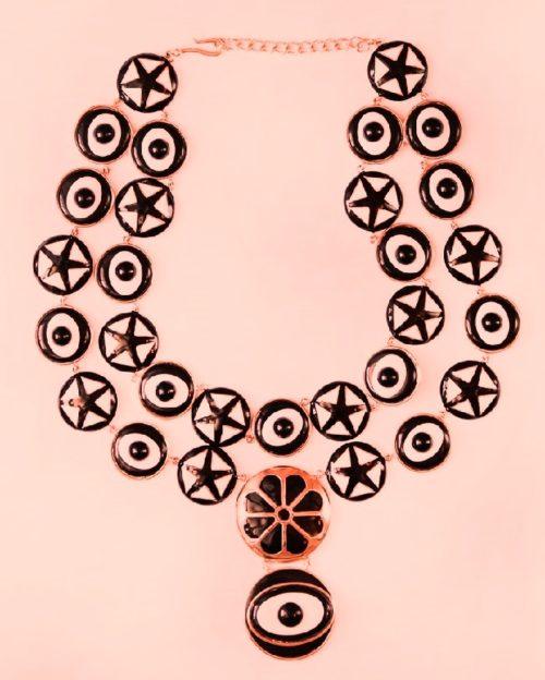 Stylish black and white Enameled necklace