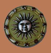 Sun brooch, vintage 1980s. Jewellery ally, Swarovski crystals, enamel