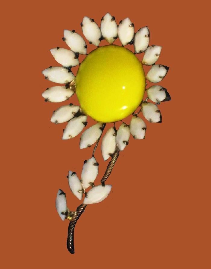 Sunflower brooch, white rhinestones and a round yellow cabochon