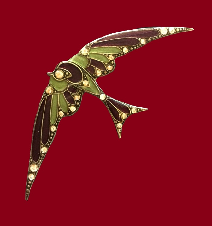 Swallow vintage brooch. Jewelery alloy, silvering, swarovski crystals, colored enamels. 8 x 3.5 cm