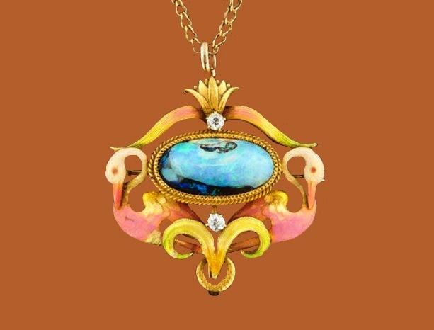 Swan lake pendant-brooch