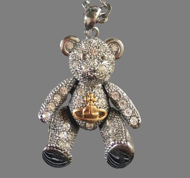 Teddy Bear Long Necklace. Silver tone metal, Swarovski crystals