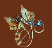 Textured Leaf brooch. Sterling silver, blue rhinestones