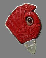 The scarlet peacock vintage brooch. Silver 925, cinnabar, garnet, moonstone