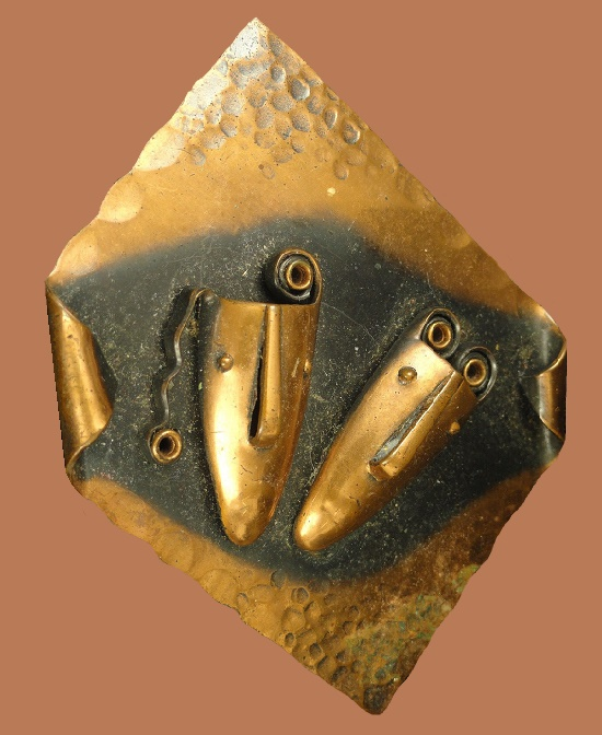 Theatrical masks surreal brooch made of copper