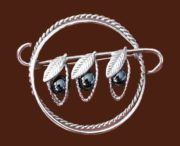 Three Peas In A Pod Brooch, sterling silver