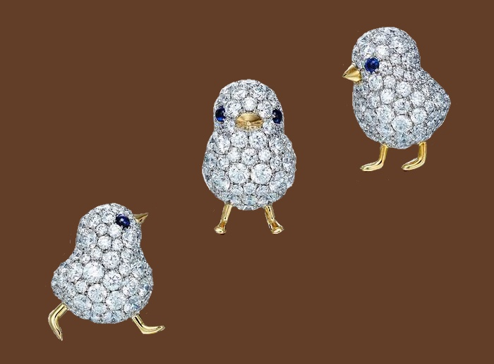 Three chicken diamond and precious stones brooches