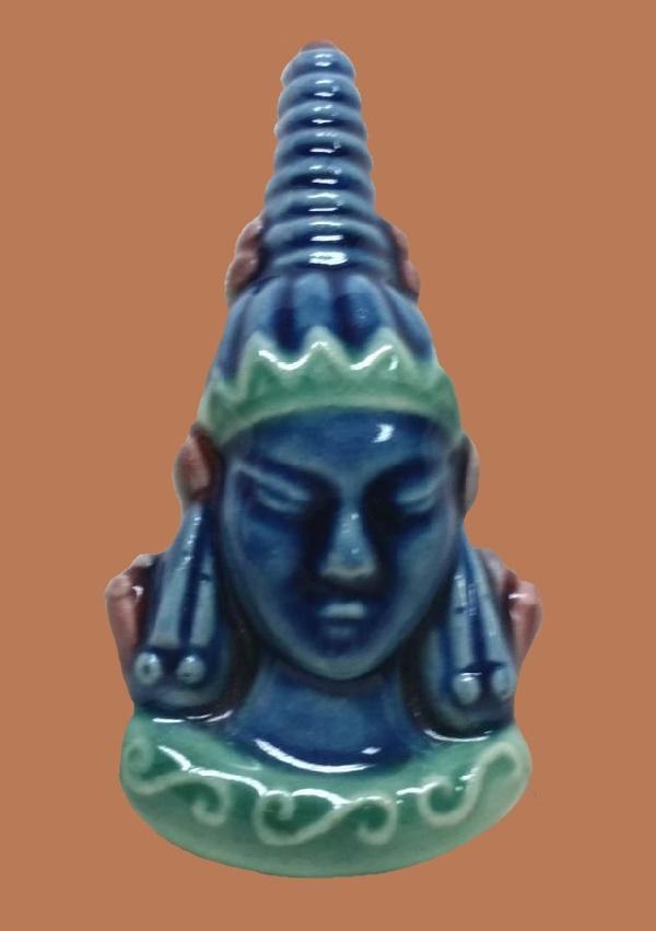 Tibetan face brooch. Handpainted blue, aqua, and maroon colors