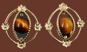 Tiger's Eye Bead earrings, gold filled