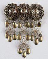 Traditional Norwegian silver filigree solje wedding brooch