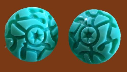 Turquoise plastic clips. 1960s