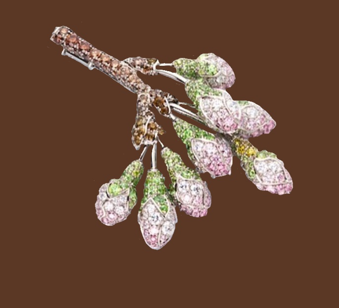 Twig brooch in platinum and gold with pink diamonds, demantoid garnets and diamonds