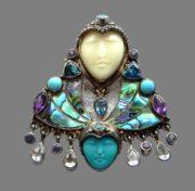 Two goddesses brooch pendant, 925 sterling silver, natural stones, heliotis, pearl paua (heliotis), amethysts, turquoise. 5.5 cm x 4.8 cm