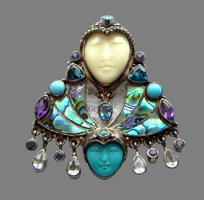 Two goddesses brooch pendant, 925 sterling silver, natural stones, heliotis, pearl paua (heliotis), amethysts, turquoise. 5.5 cm x 4.8 cm
