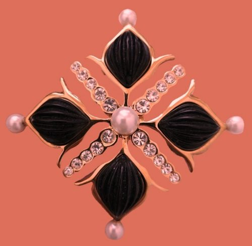 Unusual design brooch in the form of a Maltese cross. Gold tone metal, crystals, pearls, cabochons. 7 x 7 cm