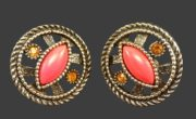 Vintage clips with coral glass. Materials alloy, blackening, glass, coral glass, crystals, silver alloy. 2.6 cm