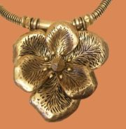 Vintage necklace. Golded brass. Length 52 cm, pendant 7 cm