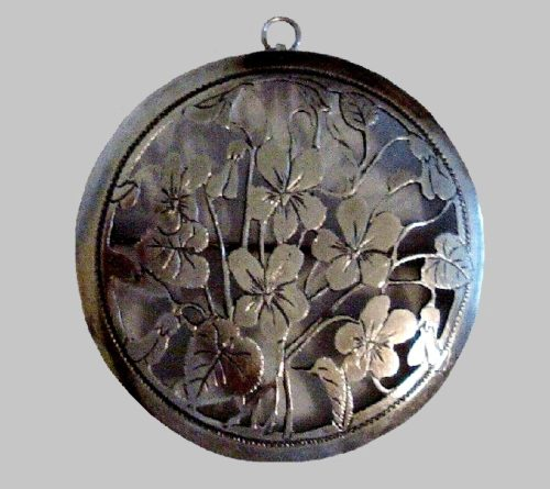 Violet flowers pendant. Sterling silver. 1930s