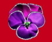 Violet pansy flower, enamel, diamond brooch
