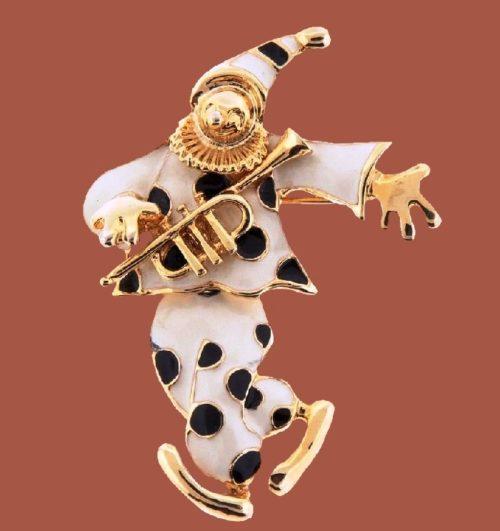 White Enamel Clown with Saxophone Brooch