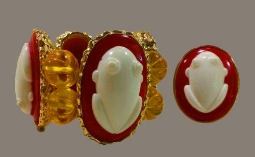 White Opal Frog bracelet and ring