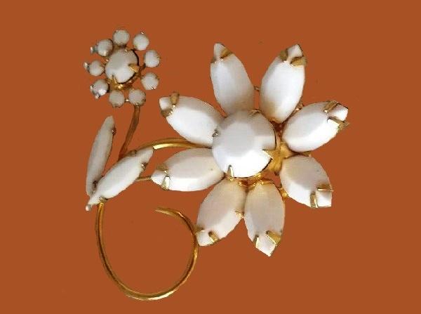 White milk glass enameled flower brooch