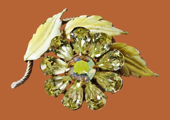 Yellow Rhinestone & Enamel Flower Brooch