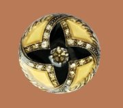 Yellow brooch. Jewelery alloy, copper plate, silvering, swarovski crystals, colored enamels. 4,2 cm