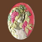Young maiden with grapes, Art Nouveau style. Materials - colored enamels, silver, silver, crystals. Size 5.3 cm x 4 cm