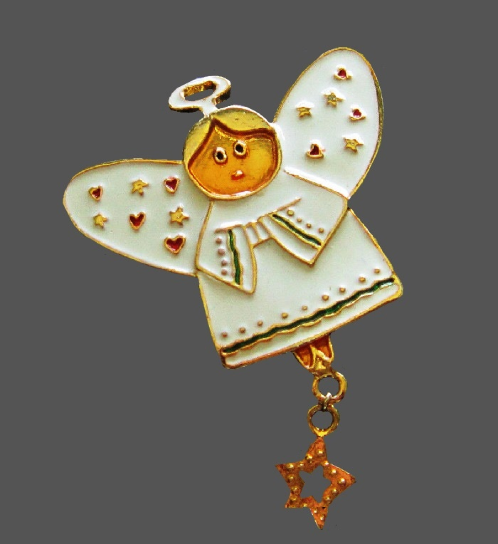 Angel Brooch. Goldtone metal, white enamel