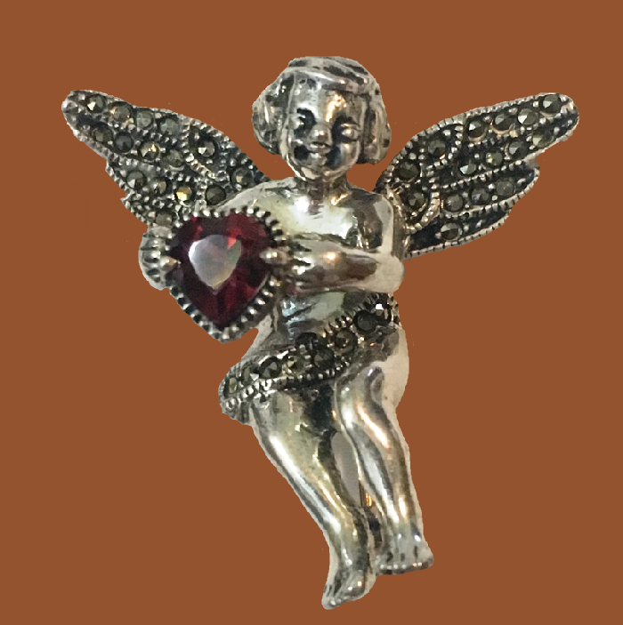 Angel Cherub Holding Garnet Heart Sterling Brooch Pin
