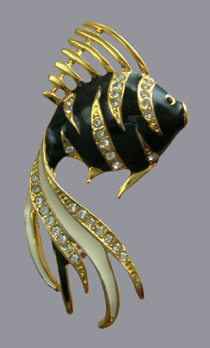Angel fish brooch. Gold tone, black and white enamel, rhinestones