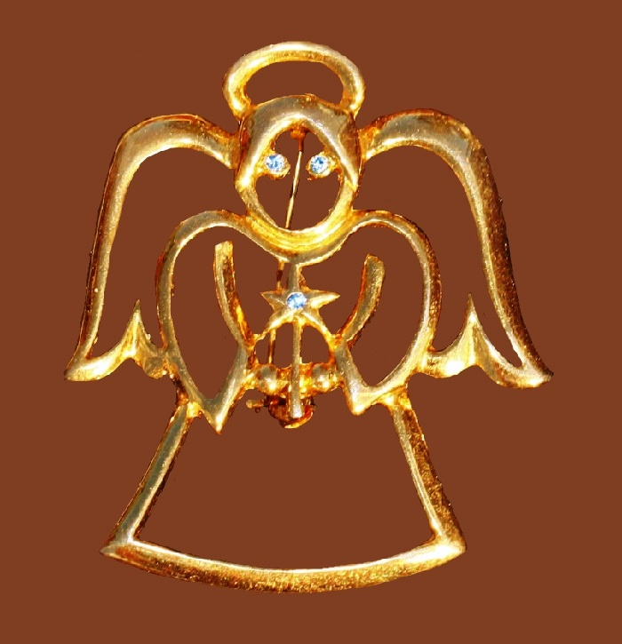 Angel holding handle gold tone Christmas brooch