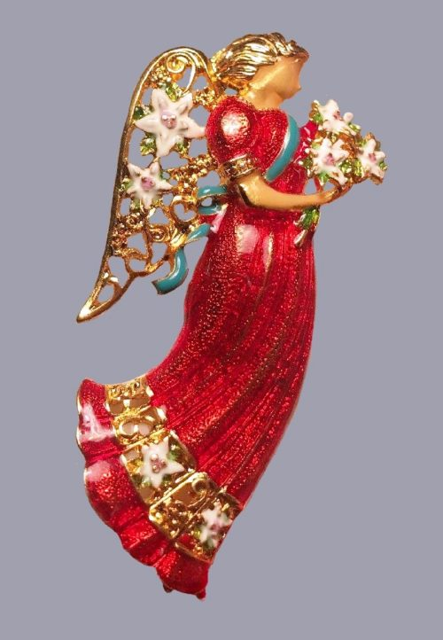 Angel with flowers enameled brooch