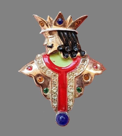 Antique silver brooch by Urie Mandle, 1946. Sterling silver, gilding, art glass, crystals, enamel. 4.5 cm