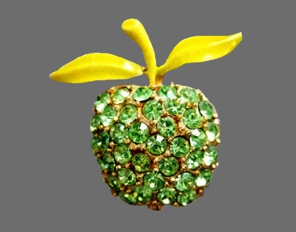 Apple brooch. Rhinestones, enamel, goldtone metal. 1960s