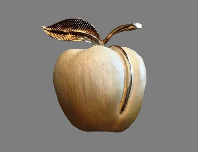 Apple brooch. White enamel, jewelry alloy of gold tone