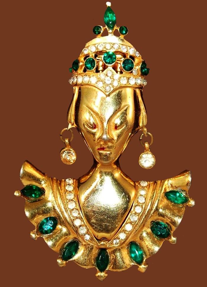 Balanese Princess brooch. Gold tone, emerald rhinestones