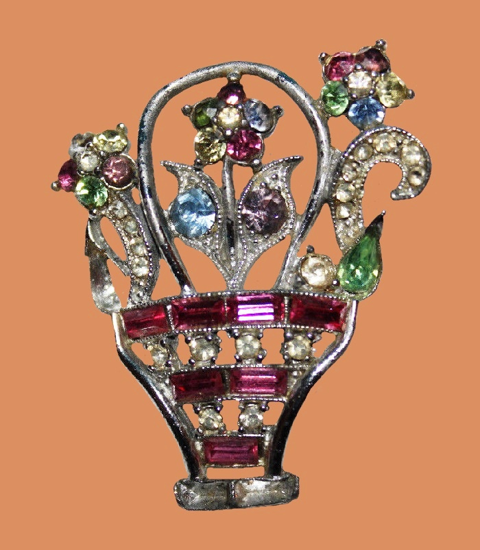 Basket of flowers brooch. Multicolor crystals, rhinestones, silver tone