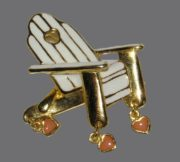 Beach Chair with Tiny Heart Charm. Gold tone jewelry alloy, cream enamel