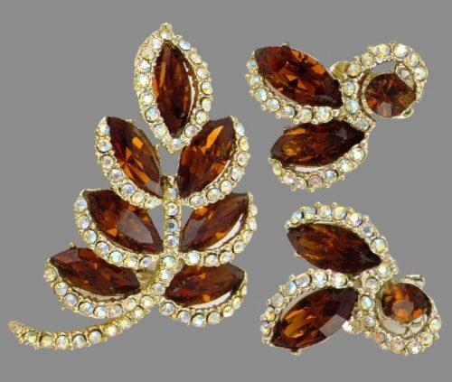 Beautiful set of brooch and earrings. Aurora Borealis, brown marquis rhinestones