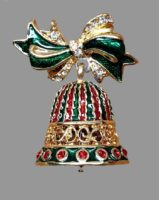 Bell and bow Christmas brooch. Jewelry alloy, enamel