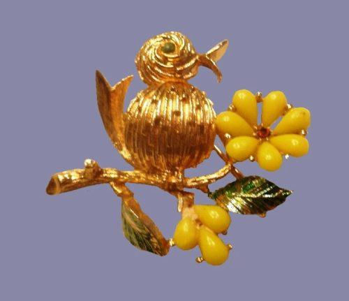 Bird on Yellow Flower Brooch Pin Goldtone