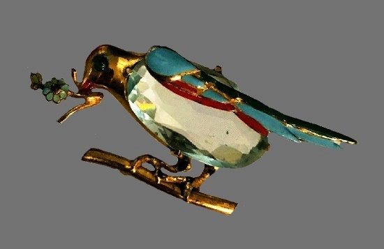 Bird with flower on a branch vintage brooch. Gold tone metal, enamel, art glass, aqua rhinestone
