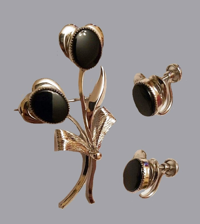 Black Onyx sterling silver brooch and earrings