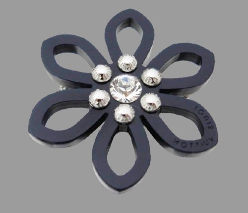 Black plastic flower brooch