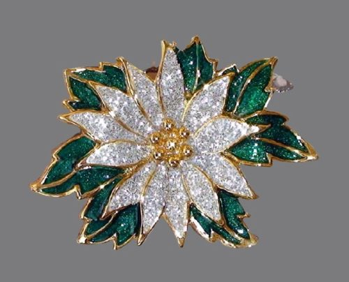 Blooming waterlily flower. Jewelry alloy, rhinestones