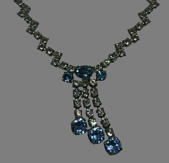 Blue and clear paste rhinestone necklace