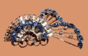 Blue and white rhinestone brooch